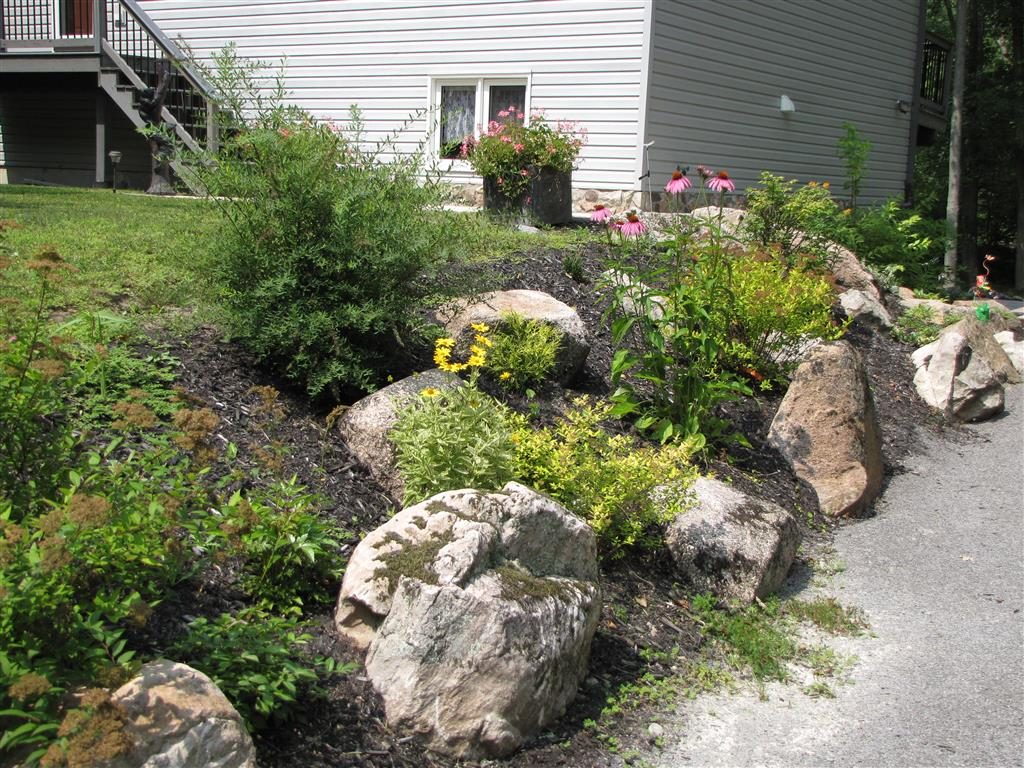 Flowerbed with natural accent stones