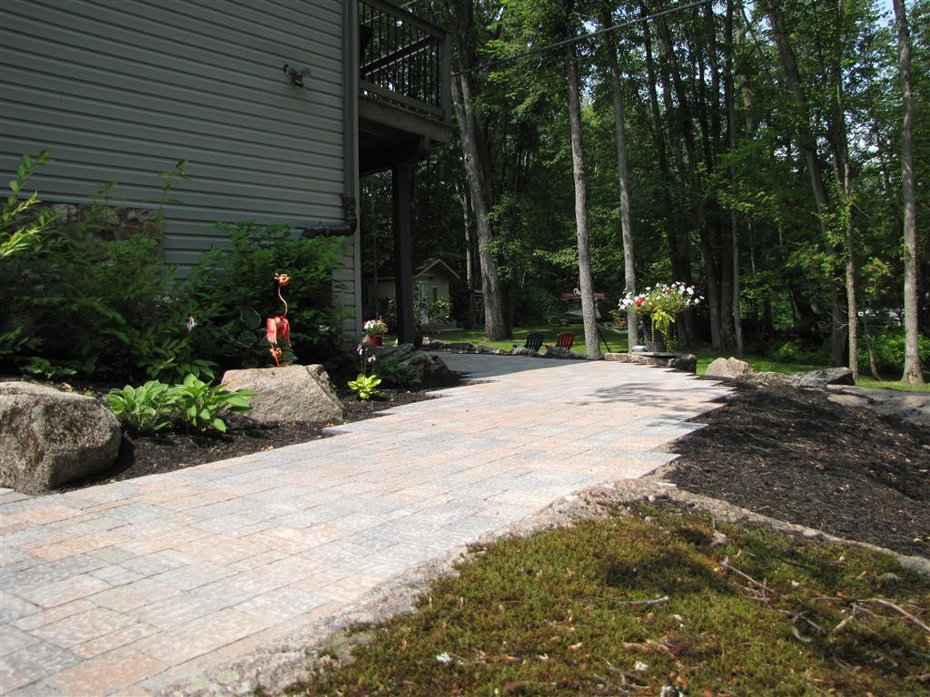 Interlock walkway and flowerbeds
