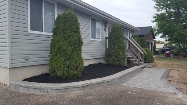 Garden Wall and Interlock Walkway